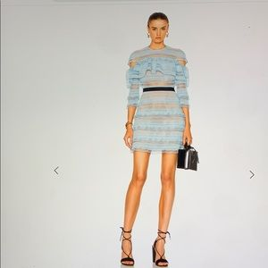 Self portrait grid stripe dress nwt